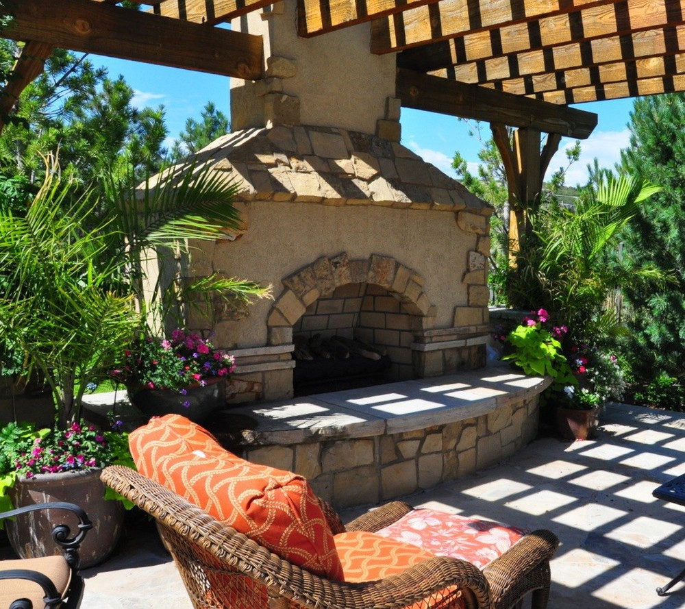 patio fireplaces fort collins rumsford co features fire backyard custom outdoor fireplace